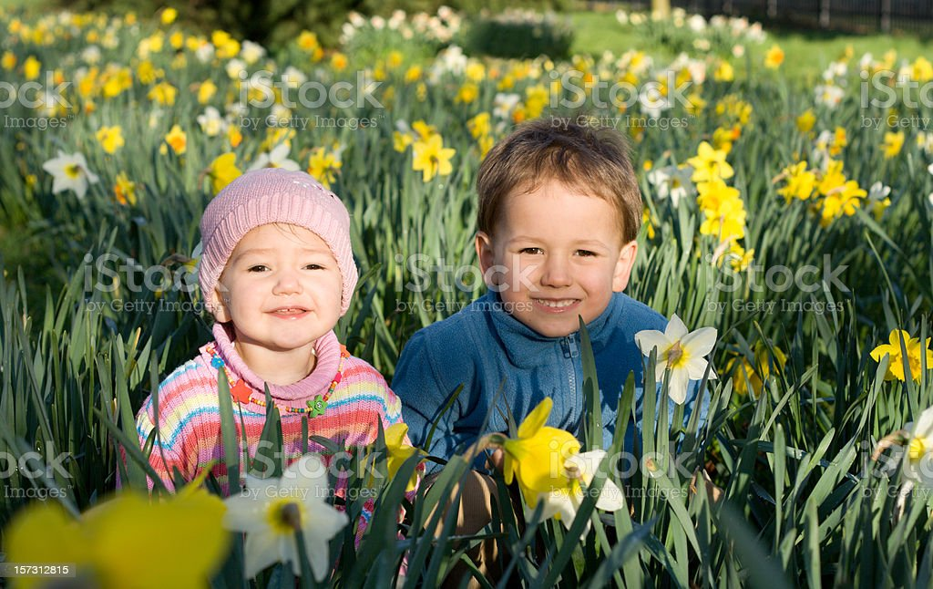 Two spring children royalty-free stock photo