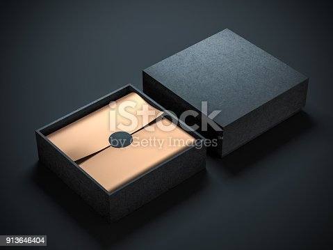 istock Two Square Black Boxes Mockup with golden wrapping paper, opened and closed 913646404
