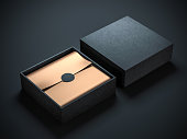 Two Square Black Boxes Mockup with golden wrapping paper, opened and closed