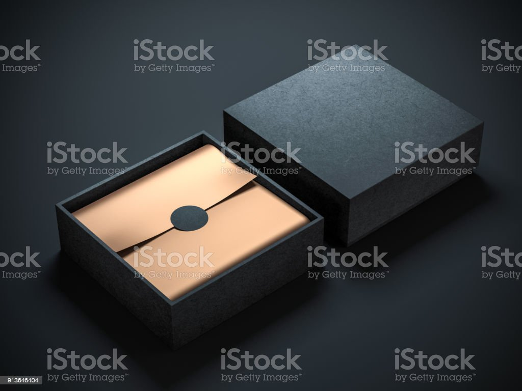Two Square Black Boxes Mockup with golden wrapping paper, opened and closed stock photo