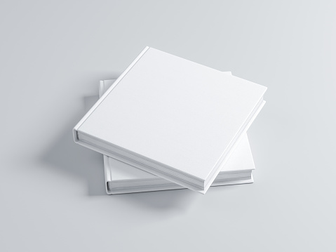 Two square blank Books Mockup with textured cover. 3d rendering