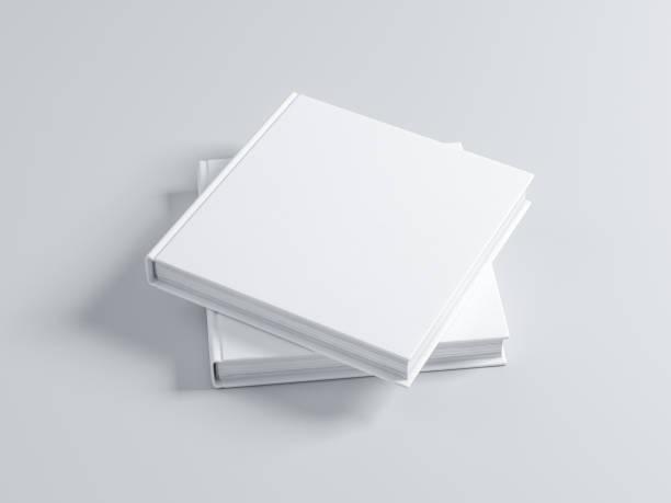 帶紋理蓋的兩個正方形空白書樣機 - 方形 個照片及圖片檔