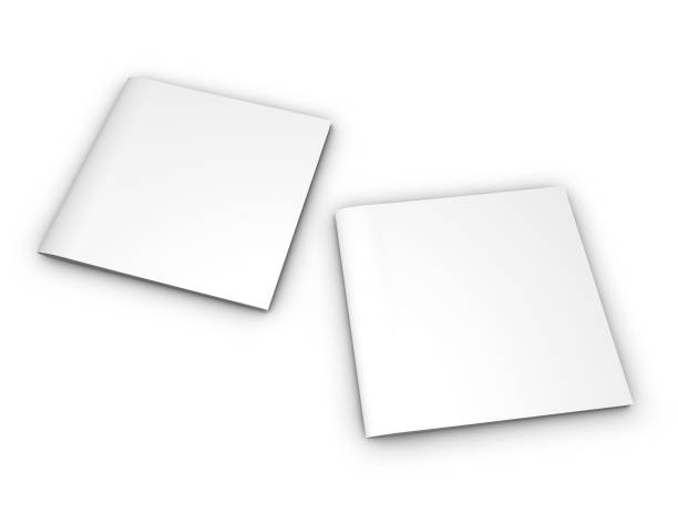 Two square booklets with blank covers, copy space for front and back cover 3D illustration. stock photo