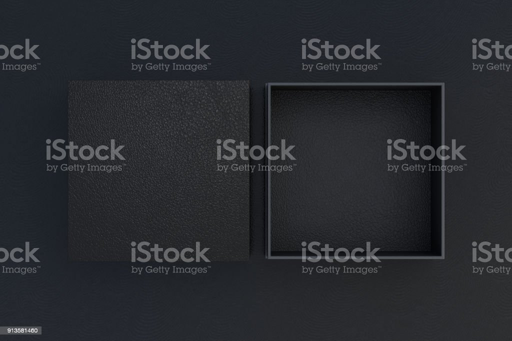 Two square boxes opened and closed stock photo