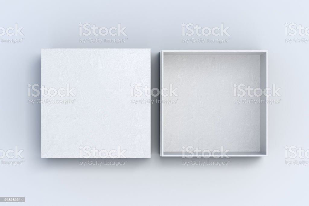 Two square boxes opened and closed