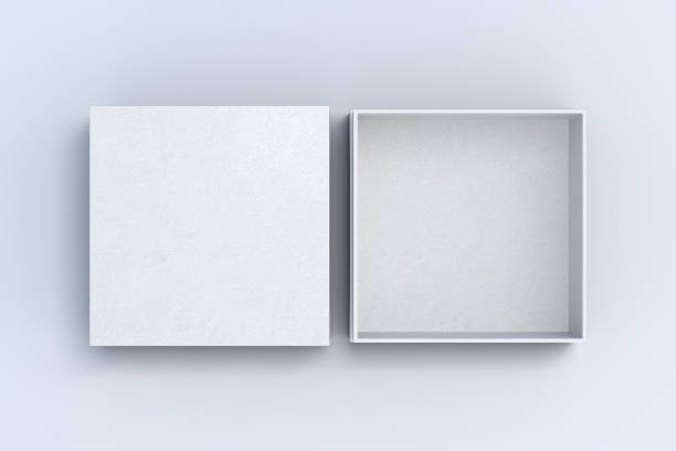 Two square boxes opened and closed Two white square boxes opened and closed on white background. 3d illustration package stock pictures, royalty-free photos & images