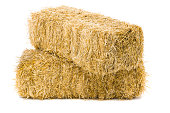 istock Two stacked bales of hay on white background 181878893