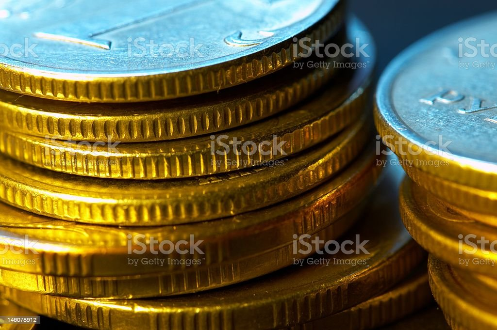 Two stacks of coins. royalty-free stock photo
