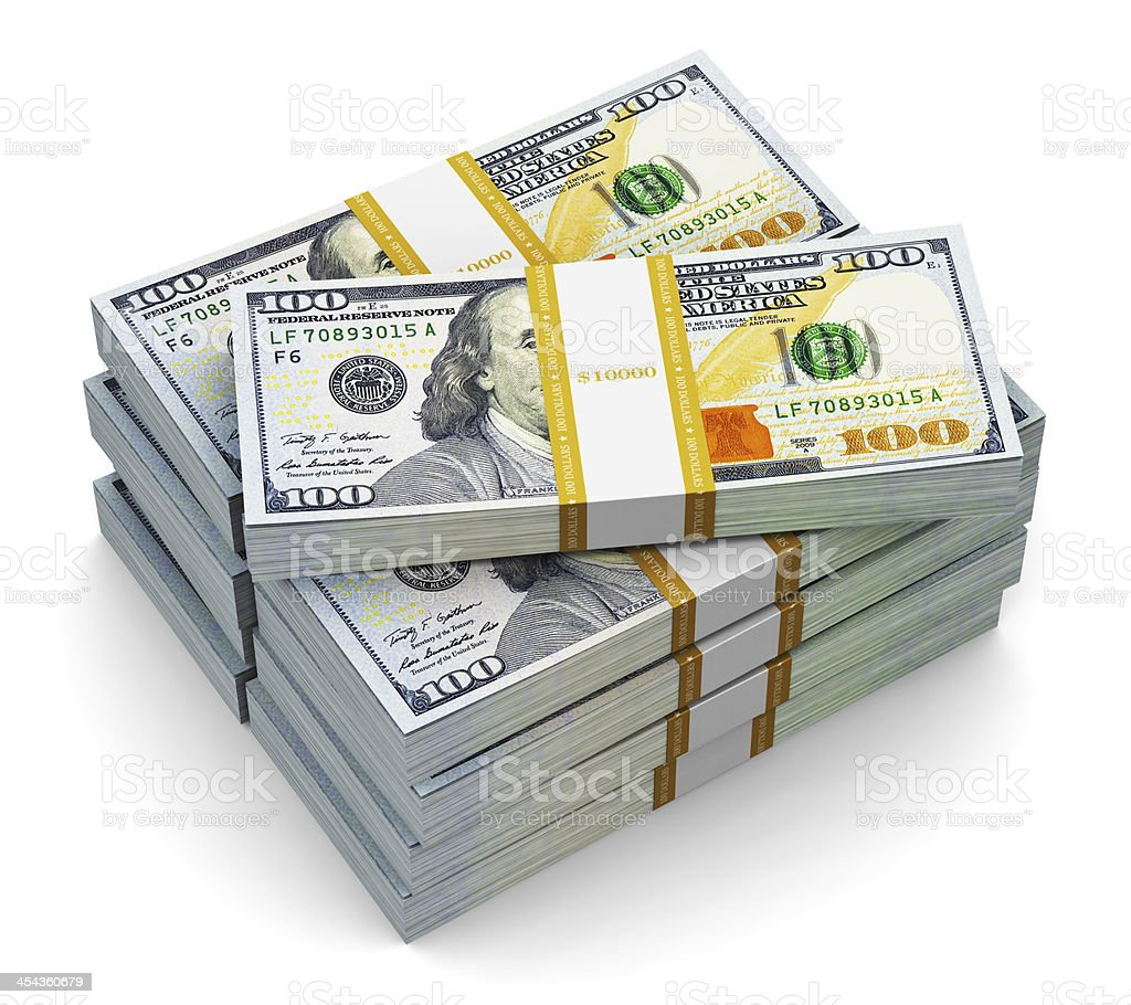 Two stacks of strapped new one hundred US dollar bills stock photo