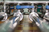 istock Two stainless steel pipelines 959084424