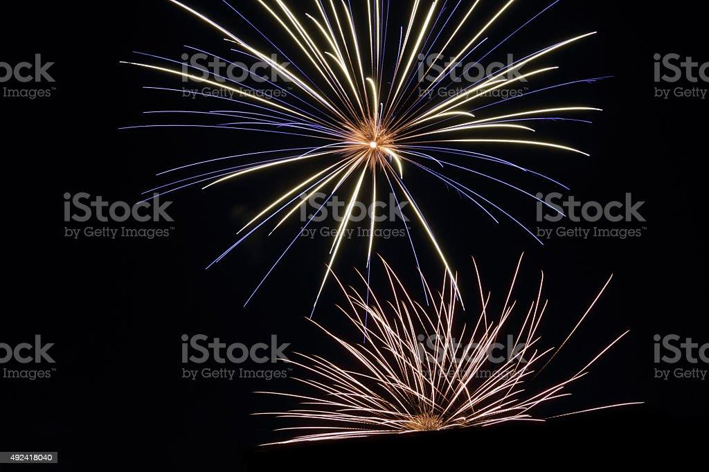 two stars firework stock photo