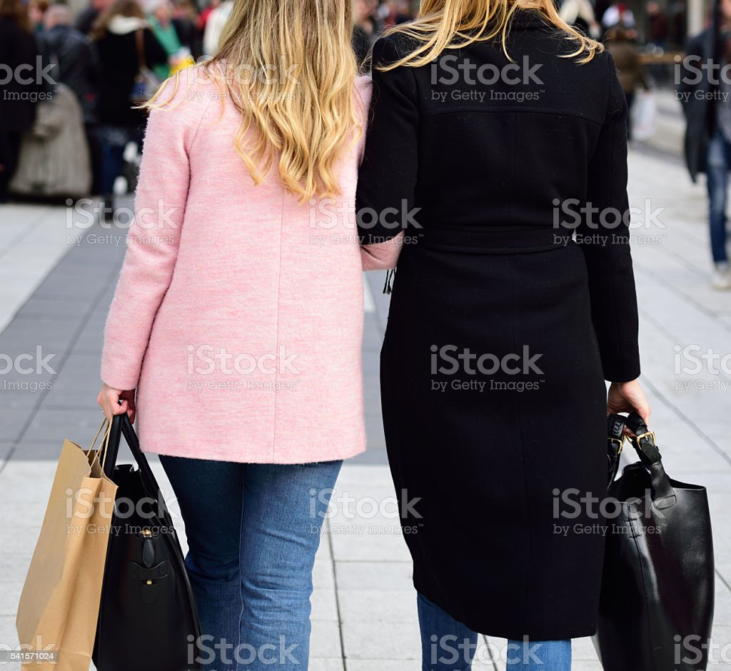 Two Stockholm blonde shopping friends in Stockholm stock photo