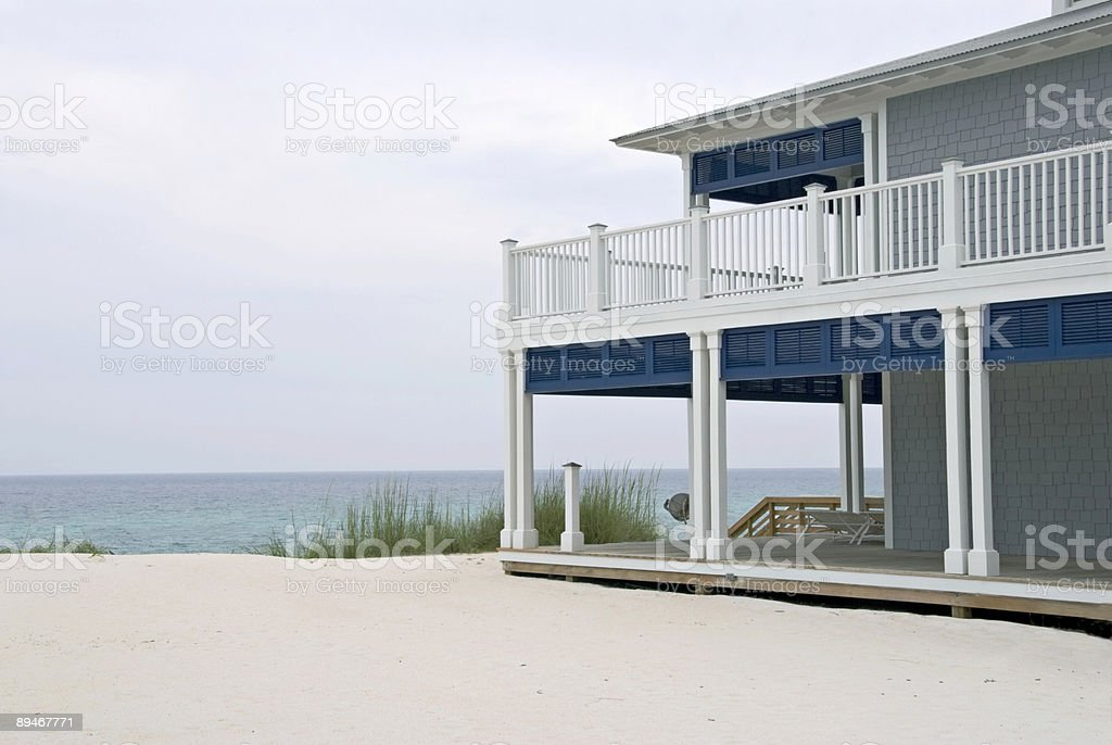 Two story beach house overlooking the Gulf of Mexico stock photo