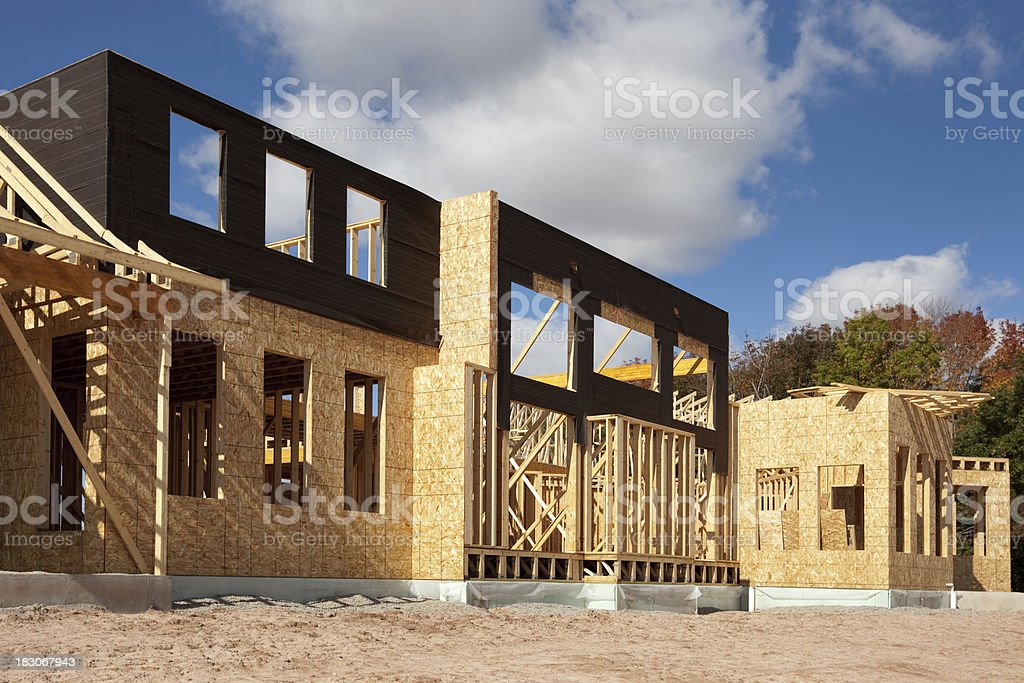 Two Story Home Building Construction Frame In Progress royalty-free stock photo