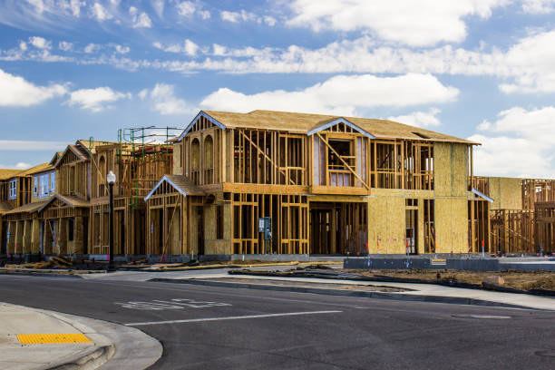 two story homes under construction - construction industry stock pictures, royalty-free photos & images