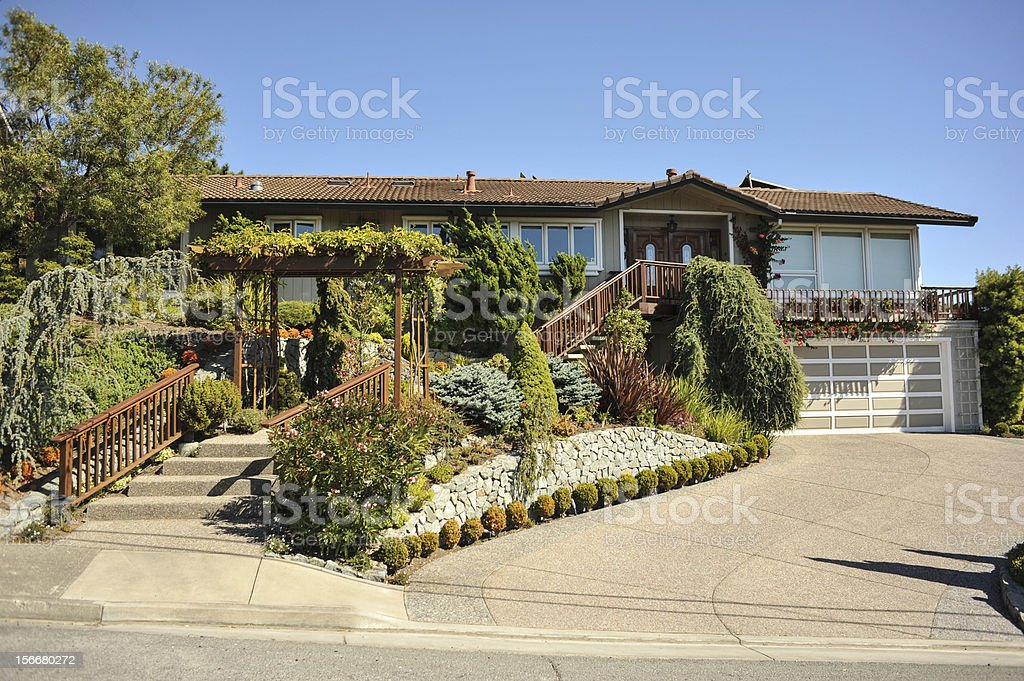 Two story single family house with driveway royalty-free stock photo