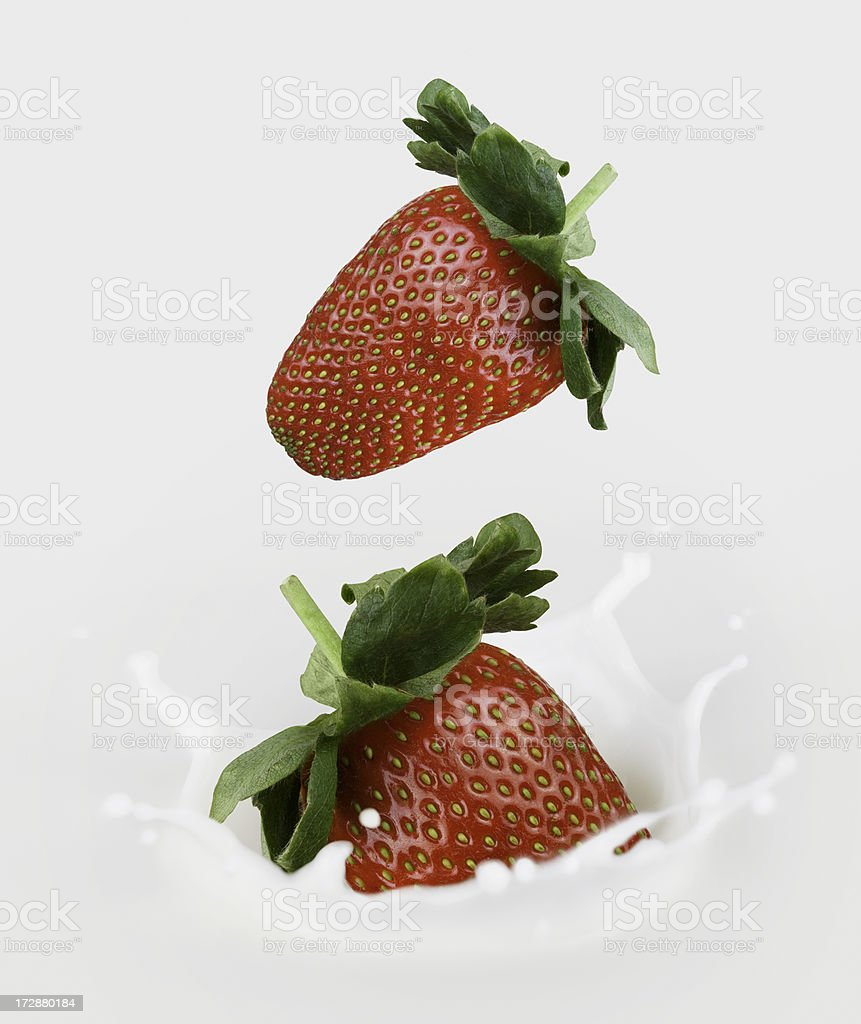 Two Strawberries falling in milk royalty-free stock photo