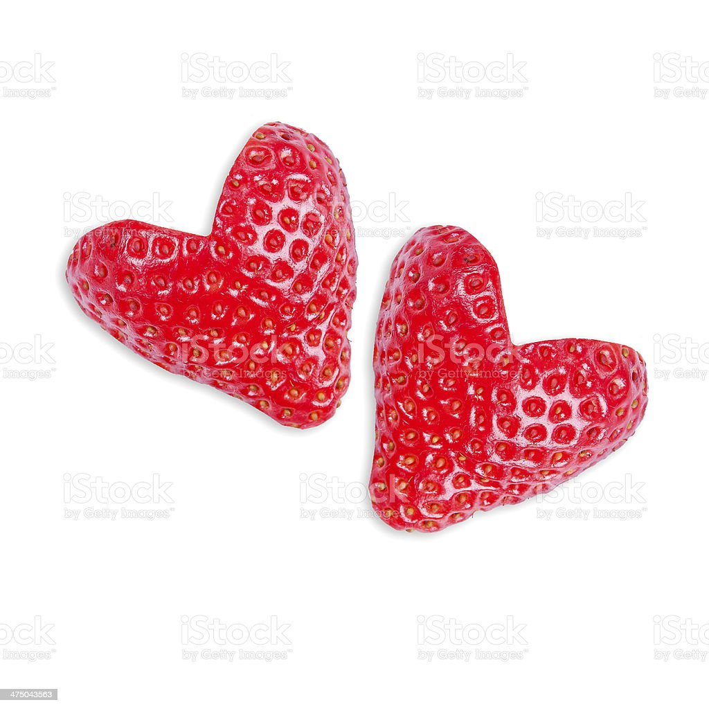 Zwei Erdbeeren in Form von Herzen – Foto