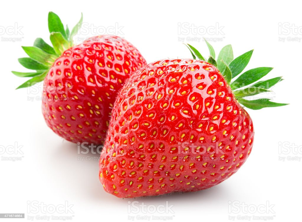 Two strawberries isolated on white background​​​ foto