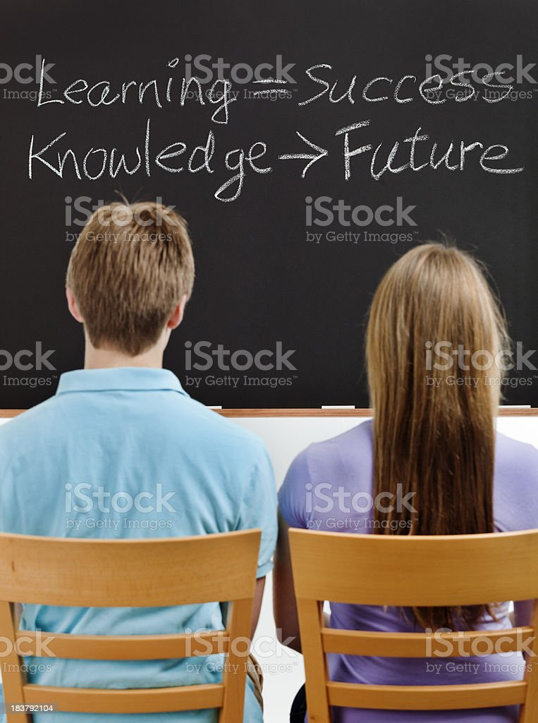 Two Students Facing Blackboard Showing Formulas for Success and Future royalty-free stock photo