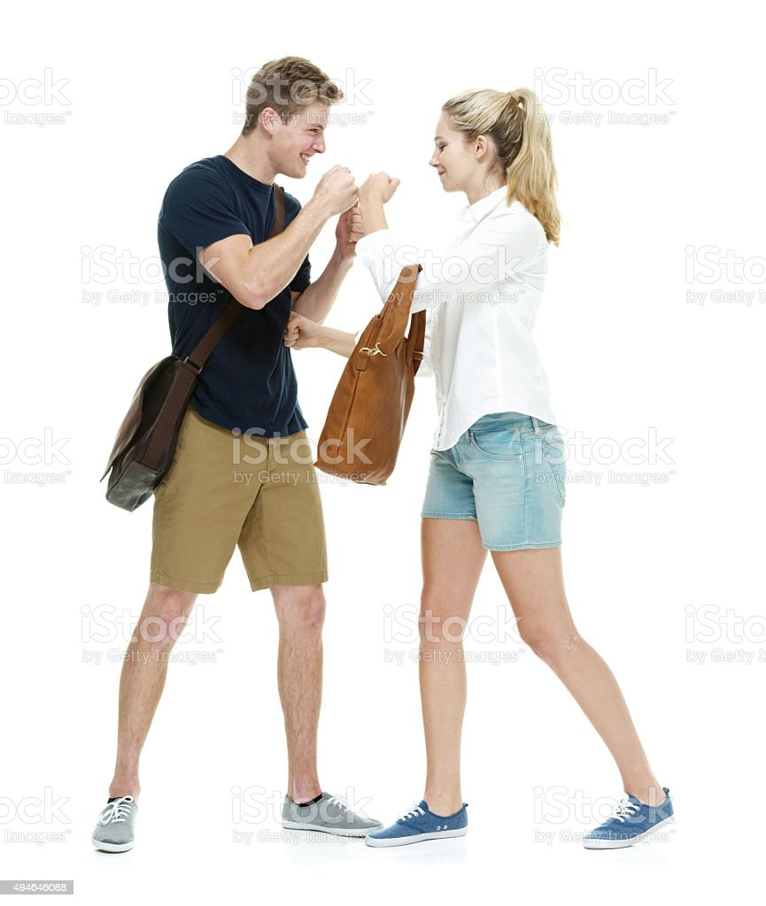 Two students fighting stock photo