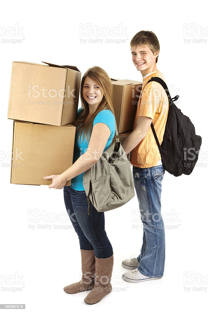 Two Students moving to University Dorm on White Background royalty-free stock photo