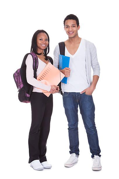 dois alunos com pasta e mochilas - vida de estudante - fotografias e filmes do acervo