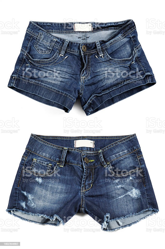 Two styles of women's Jean shorts stock photo