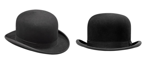 Two stylish black bowler hat isolated stock photo