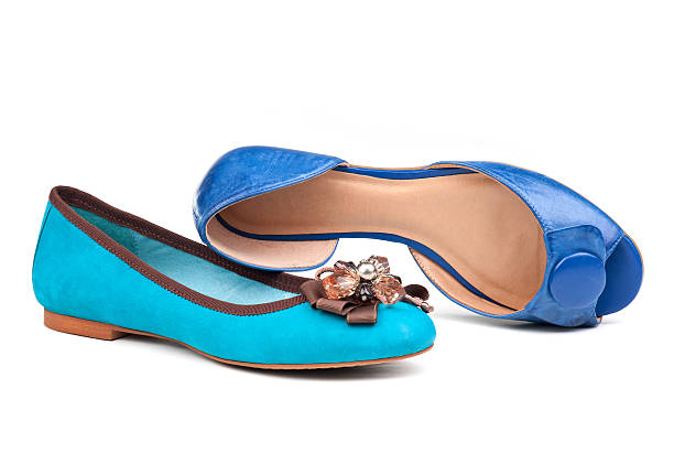 two summer women shoes over white - flat shoe stock pictures, royalty-free photos & images