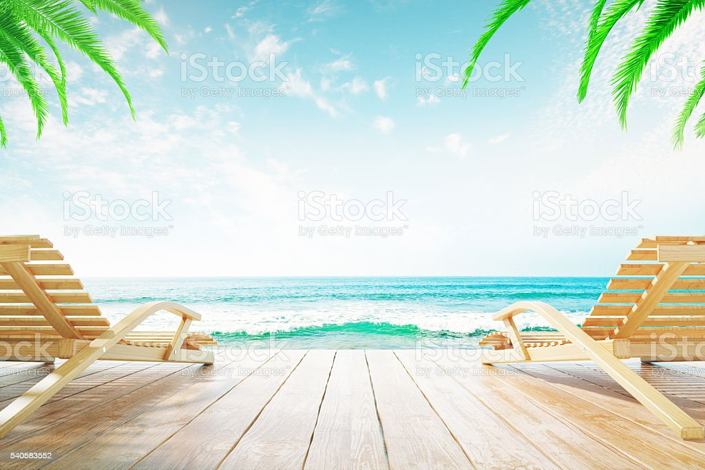 Two chaise longues stock photo