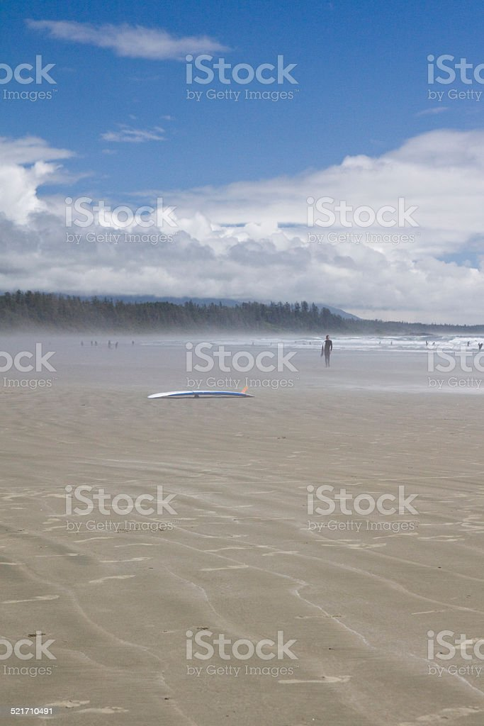 Two surfboards in the sand at Incinerator Rock stock photo