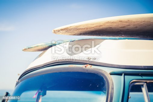 surfboards on an old van