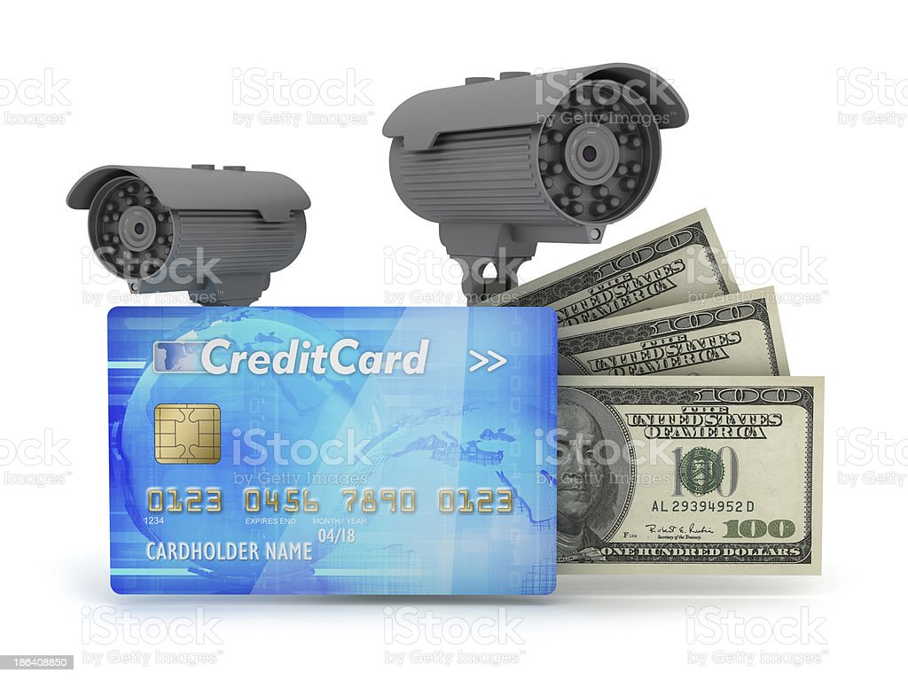 Two surveillance cameras, credit card and dollar bills royalty-free stock photo