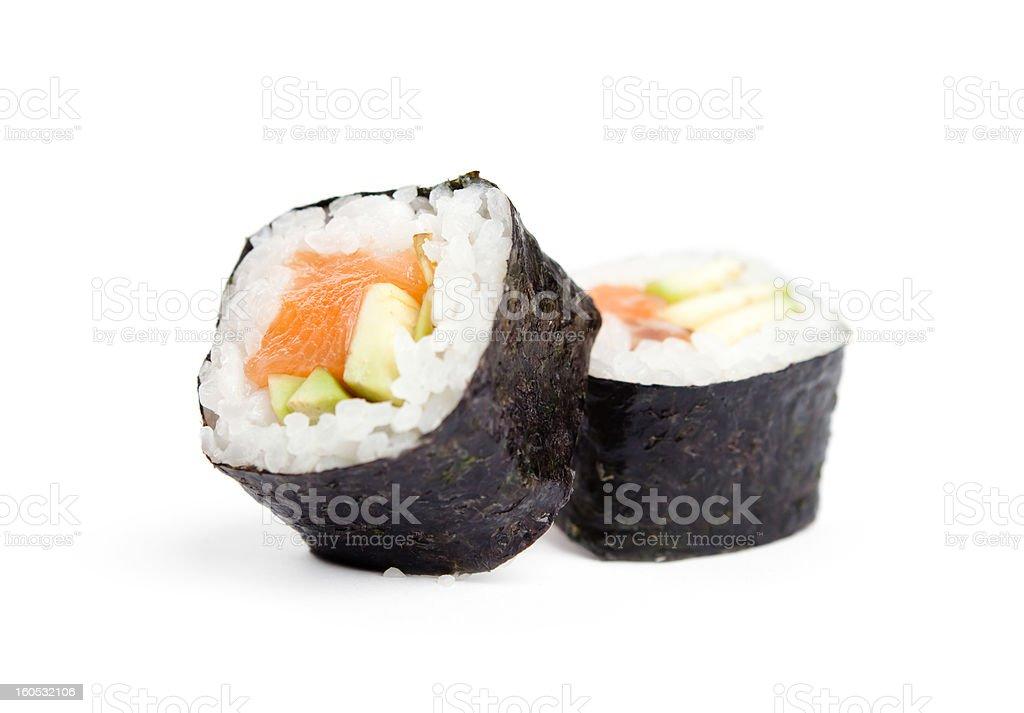 Two sushi fresh maki rolls stock photo