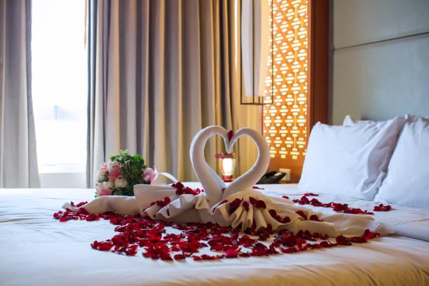 zwei schwäne aus handtüchern gefertigt sind auf hochzeitsreise weißen bett küssen. - hochzeitsreise ohne mann stock-fotos und bilder