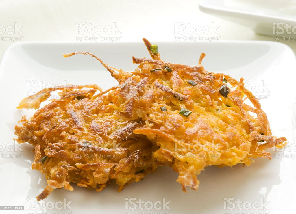 Two Sweet Potato Latkes stock photo