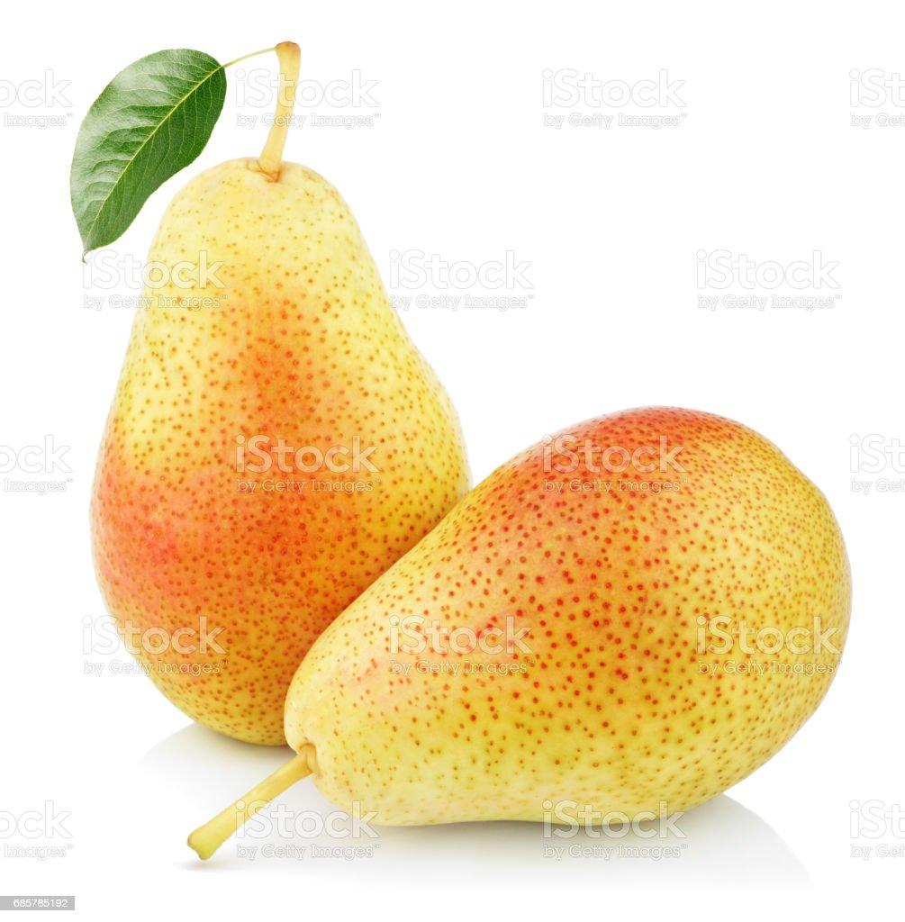 Two sweet red yellow pear fruits Lizenzfreies stock-foto