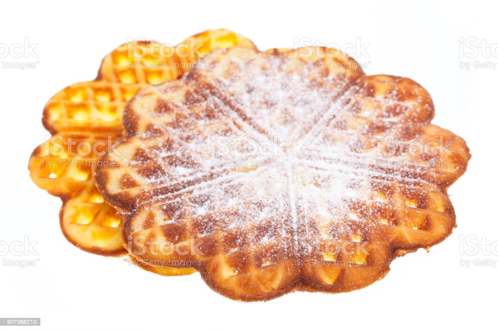 Two sweet waffles with powdered sugar stock photo