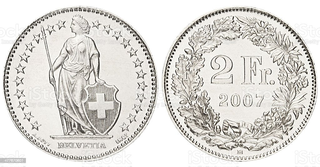 Two Swiss Francs on white background royalty-free stock photo