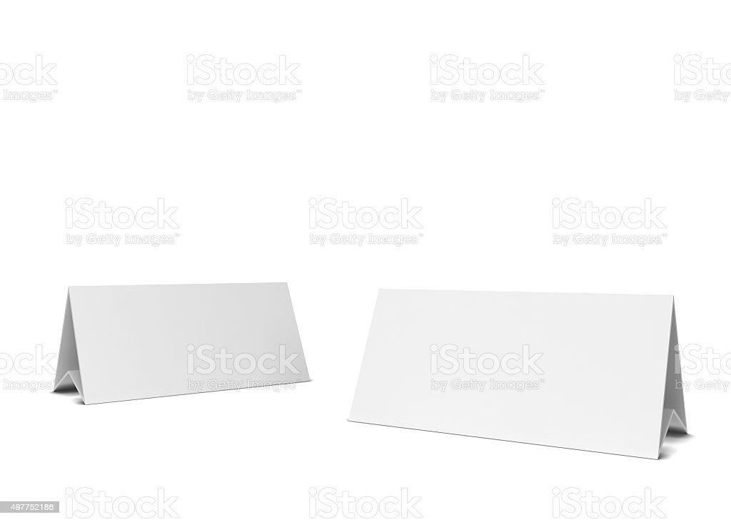 Two table cards stock photo