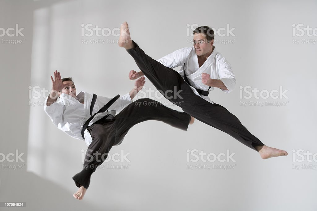 Two tae kwon do fighter stock photo