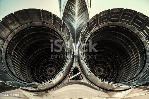 istock Two tail engines of jet 944789380