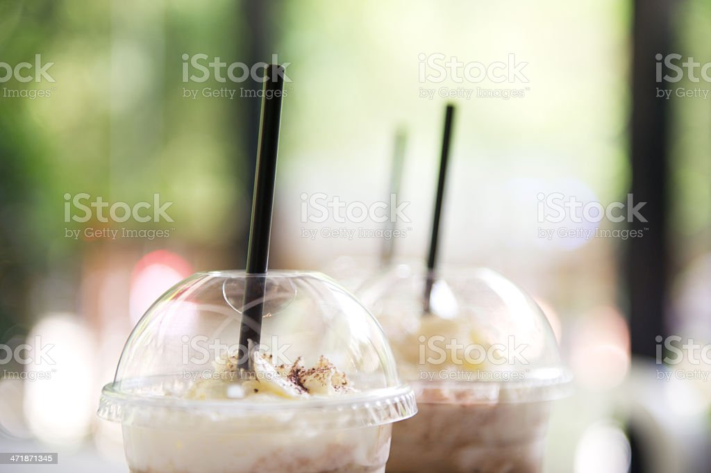 Two Takeaway Cup of Iced Coffee stock photo