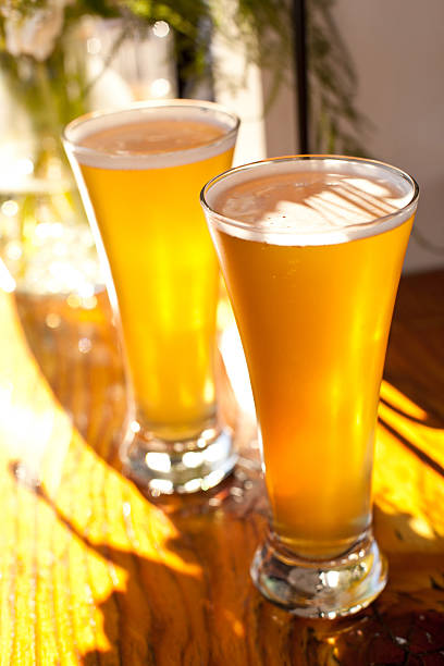 two tall glasses of beer beer pilsner stock pictures, royalty-free photos & images