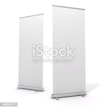 istock Two tall White roll-up banners on a white background 466308172