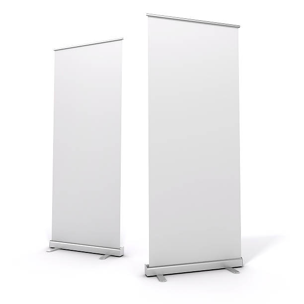 Two tall White roll-up banners on a white background stock photo
