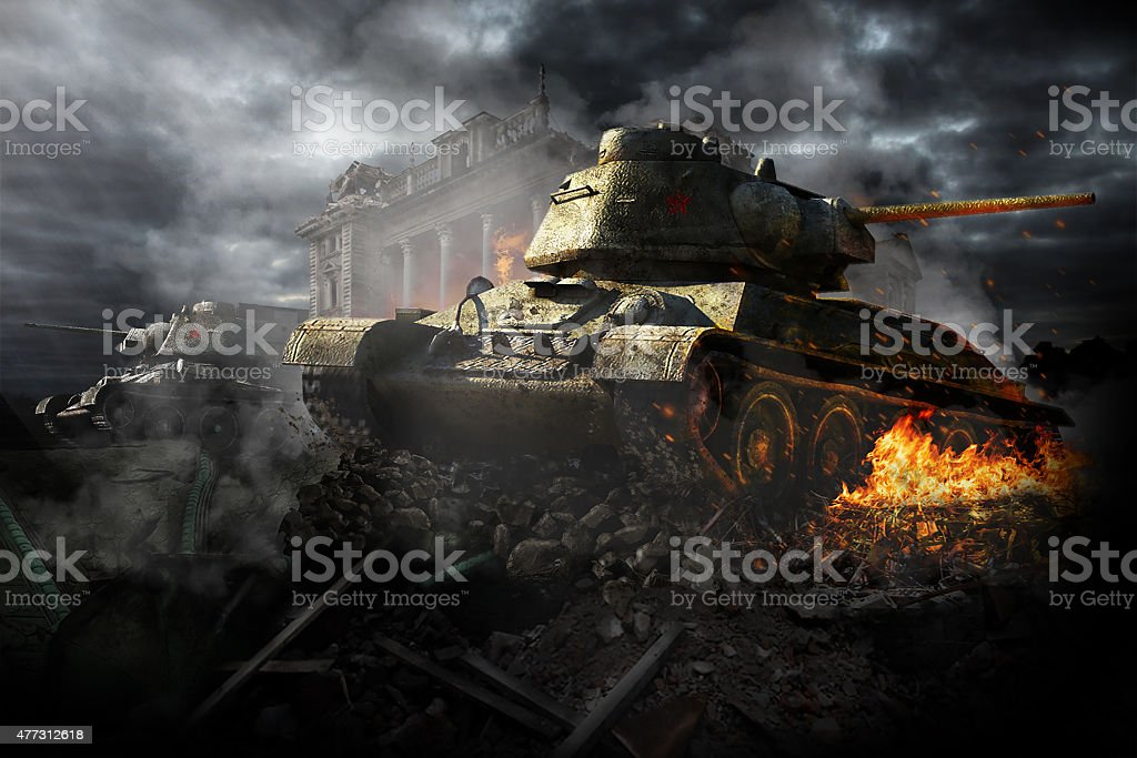 Two tanks destroyed in the area stock photo