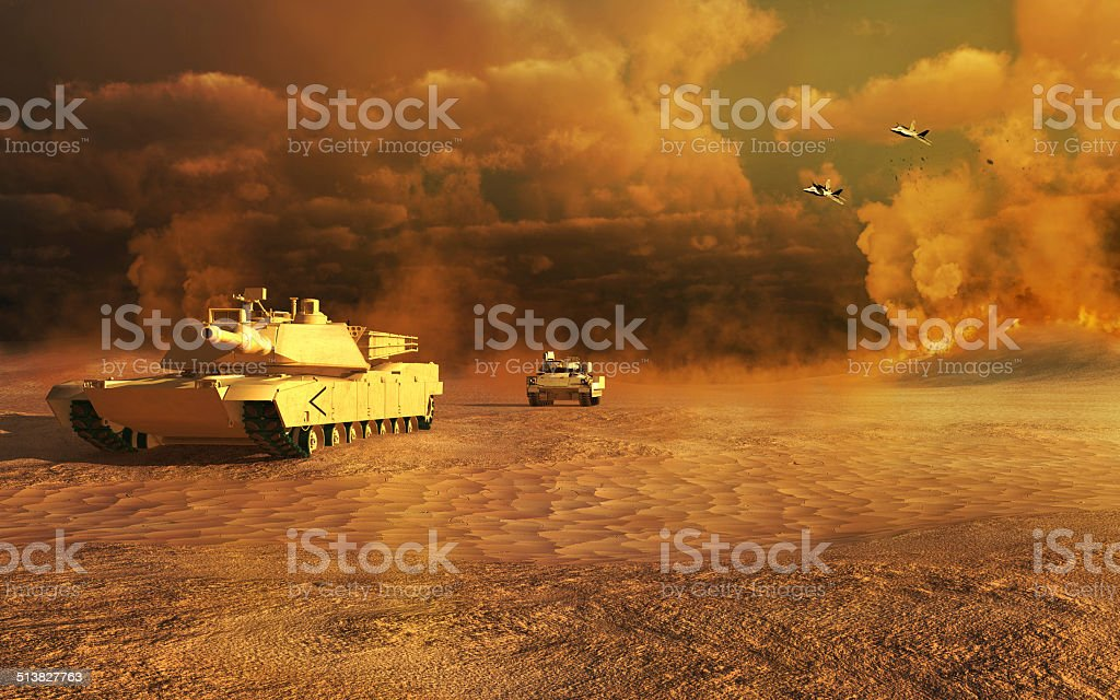 Two tanks on the desert stock photo