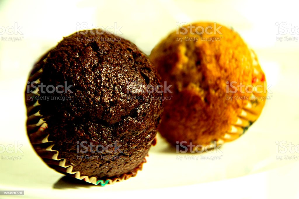 two tasty cupcakes stock photo
